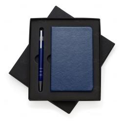 Bloco De Anotações Couro Sintético Personalizado - 14 x 9 cm Azul