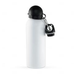 Squeeze Alumínio C/ Bico e Mosquetão Personalizado - 500 ml Branco