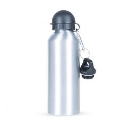 Squeeze Alumínio C/ Bico e Mosquetão Personalizado - 500 ml Prata