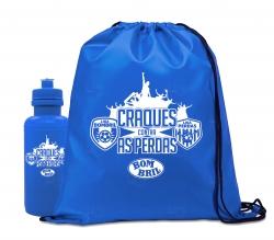 Kit Sacochila & Squeeze Personalizado - 2 Peças Azul