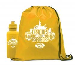 Kit Sacochila & Squeeze Personalizado - 2 Peças Amarelo