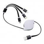 Cabo USB Retrátil 3 em 1 Personalizado Preto