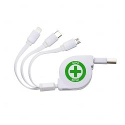 Cabo USB Retrátil 3 em 1 Personalizado Branco