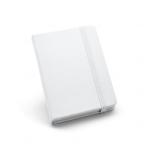 Caderno Tipo Moleskine Couro Ecológico Personalizado - 14 x 9 cm Branco