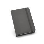 Caderno Tipo Moleskine Couro Ecológico Personalizado - 14 x 9 cm Cinza