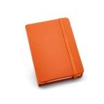 Caderno Tipo Moleskine Couro Ecológico Personalizado - 14 x 9 cm Laranja