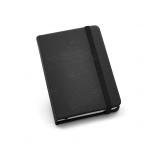 Caderno Tipo Moleskine Couro Ecológico Personalizado - 14 x 9 cm Preto