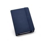 Caderno Tipo Moleskine Couro Ecológico Personalizado - 14 x 9 cm Azul Marinho
