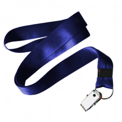 Cordão De Crachá Jacaré Personalizado 2,0 CM Azul