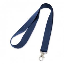 Cordão De Crachá com Presilha Mosquetinho Personalizado - 1,2 cm Azul Marinho