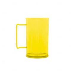 Caneca Personalizada  Acrílica Transparente Color - 500 ml Amarelo