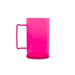 Caneca Personalizada  Acrílica Transparente Color - 500 ml Rosa
