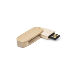 Pen Drive Bambu Giratório Personalizado - 16GB