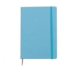 Caderneta Tipo Moleskine Couro Sintético Personalizada 21,4x14,7 Azul Claro