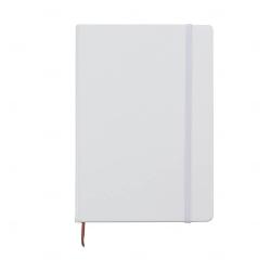 Caderneta Tipo Moleskine Couro Sintético Personalizada 21,4x14,7 Branco
