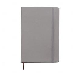 Caderneta Tipo Moleskine Couro Sintético Personalizada 21,4x14,7 Cinza