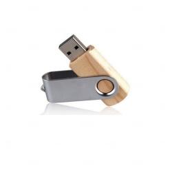 Pen Drive Madeira Giratória Personalizado - 4GB