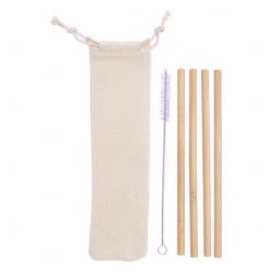 Kit Canudos de Bambu Personalizado - 3 Peças