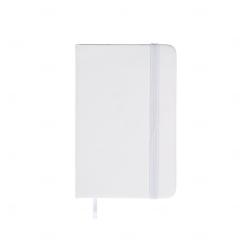 Caderneta Tipo Moleskine Emborrachada Personalizada - 14,1x8,8 cm Branco