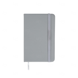 Caderneta Tipo Moleskine Emborrachada Personalizada - 14,1x8,8 cm Cinza