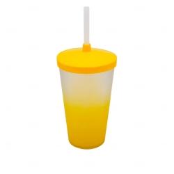 Copo Personalizado  Degradê com Tampa e Canudo  - 500 ml Amarelo