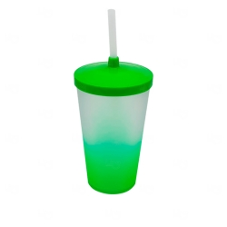 Copo Personalizado  Degradê com Tampa e Canudo  - 500 ml Verde