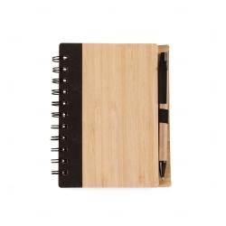 Bloco de Anotações Bambu com Caneta Personalizado - 16 x 13,3 cm