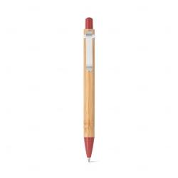 Caneta Esferográfica Bambu Personalizada Vermelho