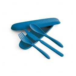 Conjunto de Talheres Fibra de  Bambu Personalizada Azul