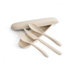 Conjunto de Talheres Fibra de  Bambu Personalizada Natural