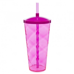 Copão C/ Canudo Personalizado - 1 L (Leitoso ou Cristal) Rosa