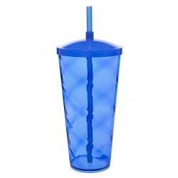 Copão C/ Canudo Personalizado - 1 L (Leitoso ou Cristal) Azul
