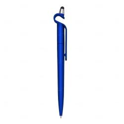 Caneta Plástica Touch com Suporte Personalizada Azul