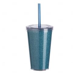 Copo de Acrílico com Canudo Personalizado - 550ml Azul Claro