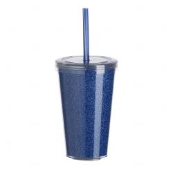 Copo de Acrílico com Canudo Personalizado - 550ml Azul