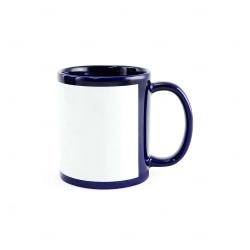 Caneca de Cerâmica c/ Tarja Personalizada - 325 ml Azul Marinho