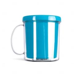 Caneca Acrílica com Porta Foto - 350ml Azul Claro