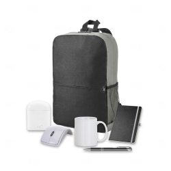 Kit Home Office Premium Personalizado - 6 peças Cinza