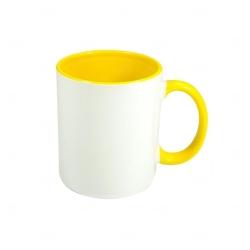 Caneca Cerâmica Fundo Colorido Personalizada - 325 ml Amarelo