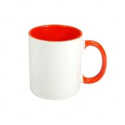 Caneca Cerâmica Fundo Colorido Personalizada - 325 ml Laranja