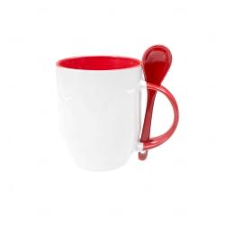 Caneca Personalizada  c/ Colher - 325 ml Vermelho
