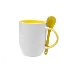 Caneca Personalizada  c/ Colher - 325 ml Amarelo