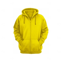 Moletom Canguru c/ Zíper Personalizado Amarelo