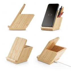 Carregador personalizado wireless em bambu