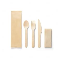 Conjunto personalizado de talheres em madeira Natural