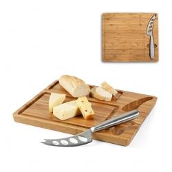 Tábua personalizada de queijos em bambu com faca