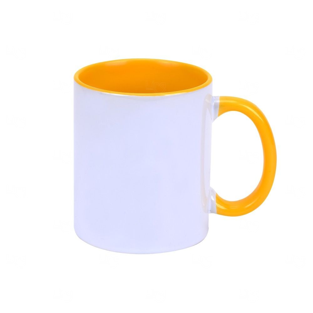 Caneca Personalizada com Interior Colorido - 325 ml Amarelo