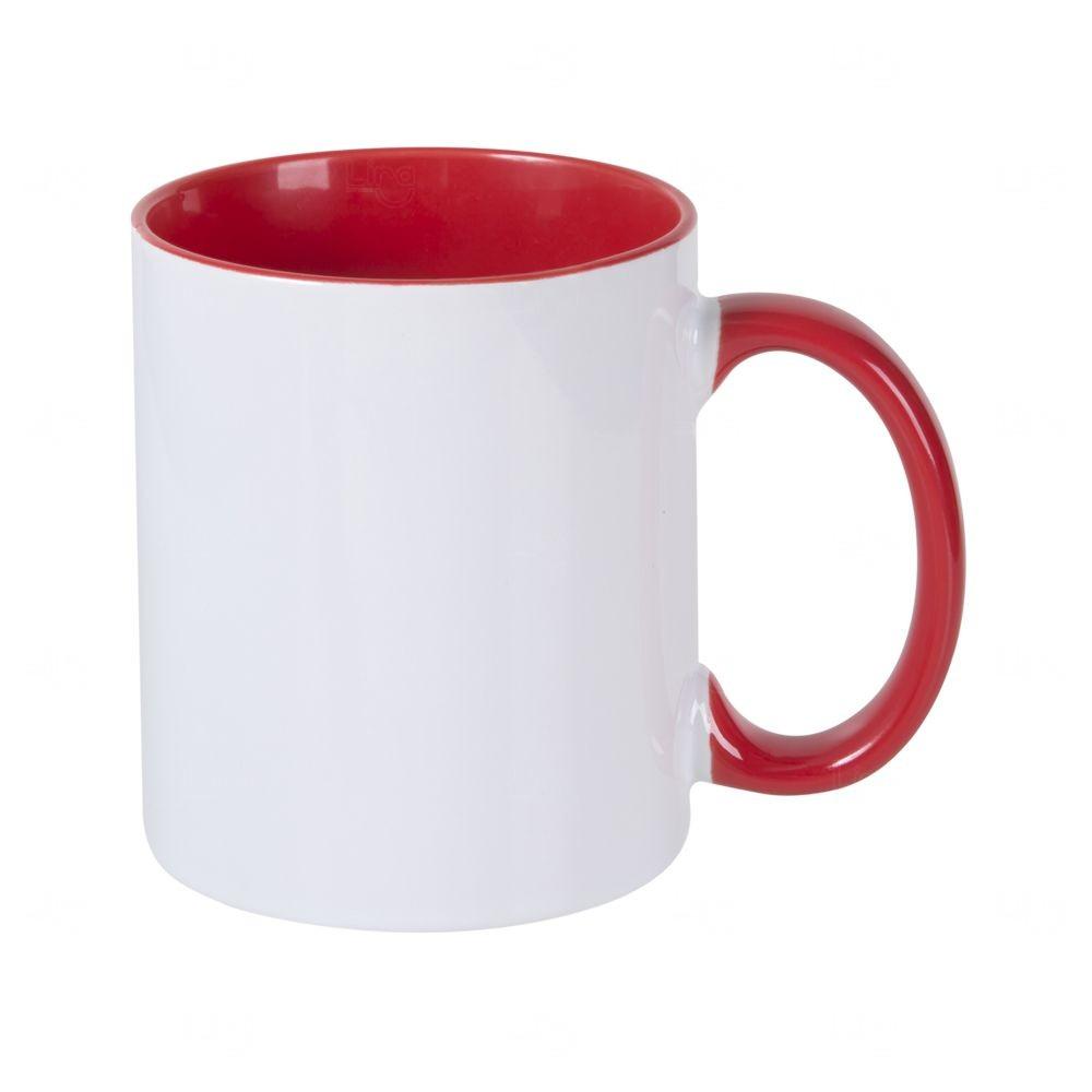 Caneca Personalizada com Interior Colorido - 325 ml Vermelho