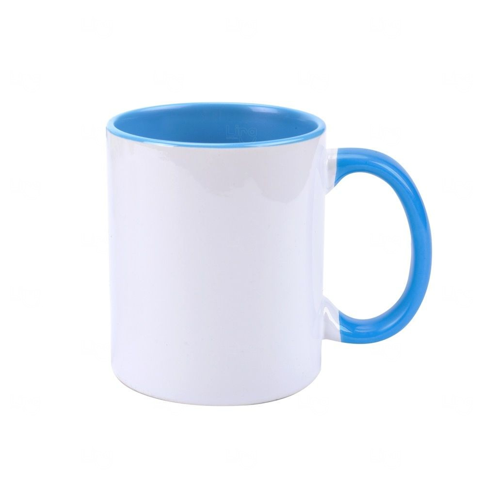 Caneca Personalizada com Interior Colorido - 325 ml Azul Claro