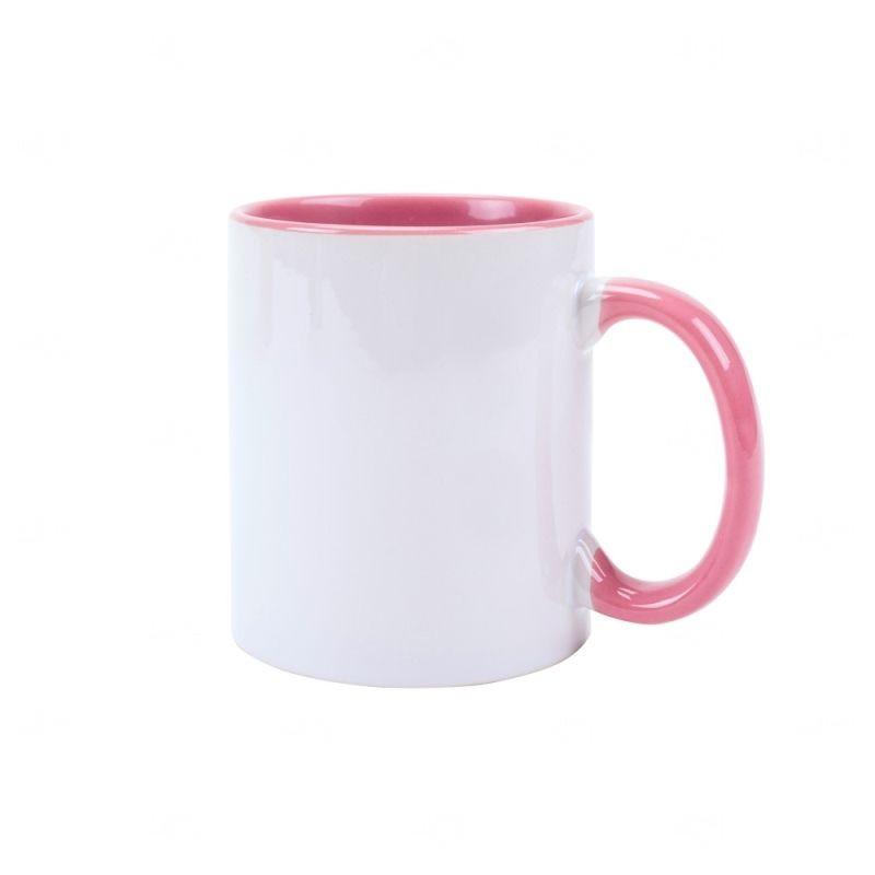 Caneca Personalizada com Interior Colorido - 325 ml Rosa Claro